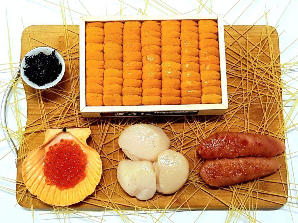 Shiki delivery japan japanese fresh frozen sashimi Ikura shiokombu scallops hotate uni sea urchin mentaiko fish eggs hokkaido tokyo angel hair pasta promotion