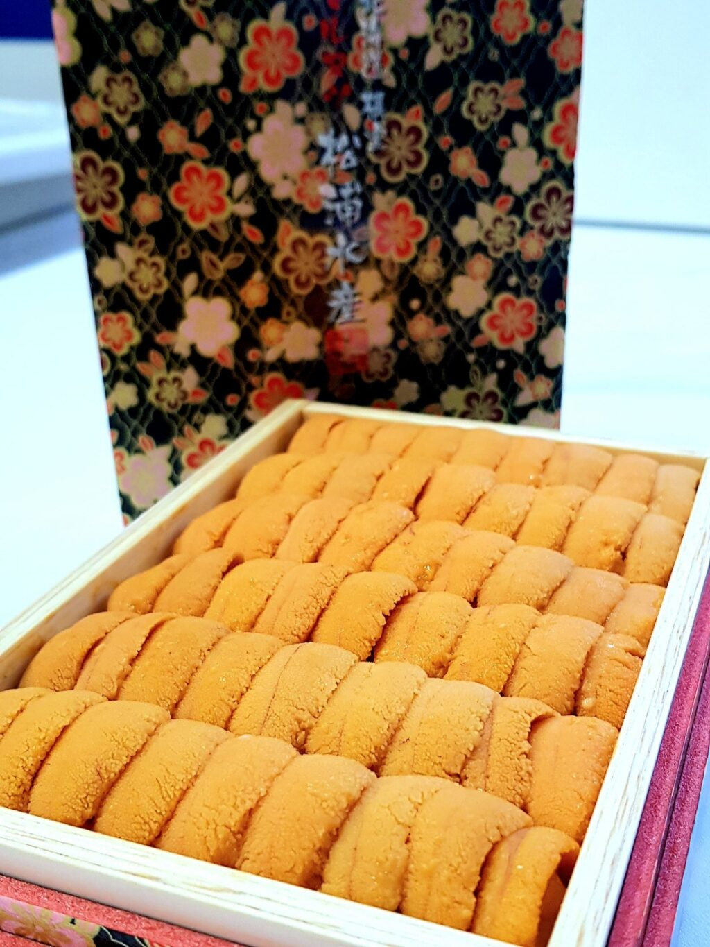 """This brand of premium uni, """"Matsu-ura"""", is premium farmed bafun uni and is specially chosen by the owner of the uni farm every morning after their uni is shucked and prepared for packing."""