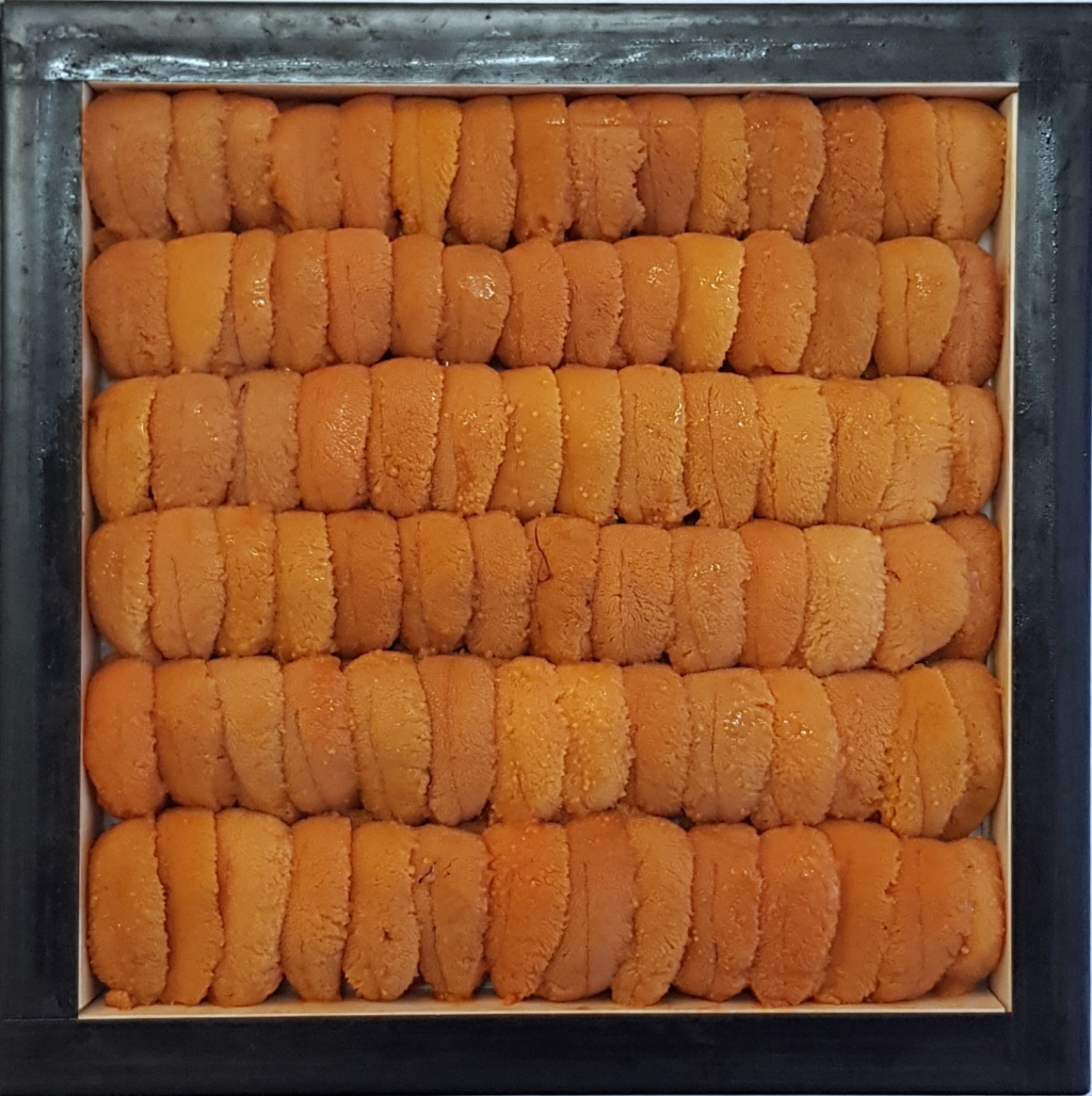 This brand of premium uni, Seto-Matsu Ura, is the most premium farmed bafun uni available and is specially chosen by the owner of the uni farm every morning after their uni is shucked and prepared for packing.