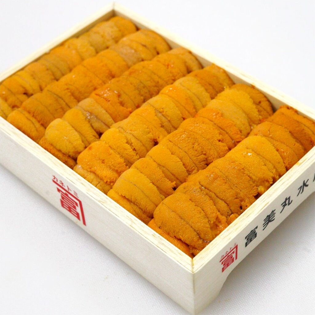 Shiki Singapore: Bafun Uni Narabi Yellow 250g Hokkaido Sea Urchin Auction grade Shiki SG. Order with us now for fresh seafood delivery!, Bafun Uni Narabi, Japanese seaurchin roe, toyosu auctions, delivery, Uni delivery, Uni straight pattern, Tomi Uni