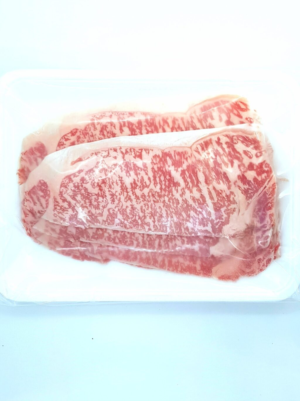 A4 Striploin is usually the most used part in Japanese Wagyu cuisine and the meat has a cap of fat which runs through the top part of the steak. This gives an extra fatty melt in your mouth feel with A5 grade meat in the center portion, providing the full Japanese beef flavor.